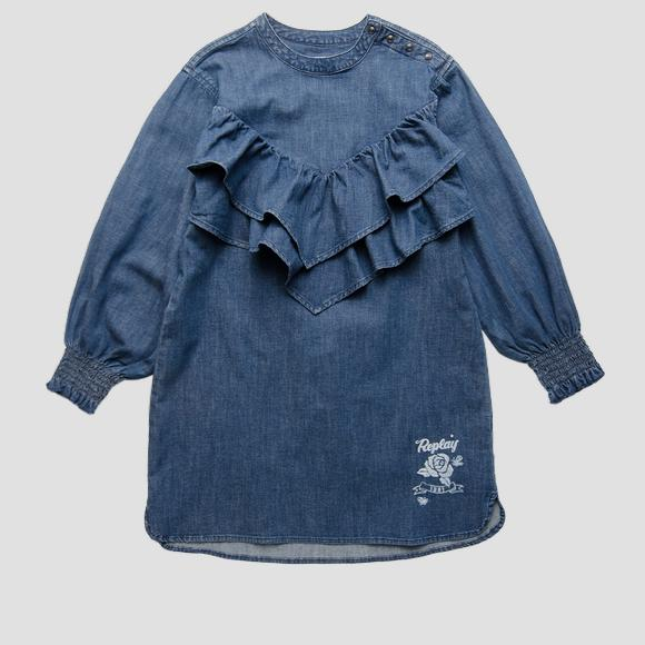 Denim dress with frills- REPLAY&SONS SG3610_050_165_001_1