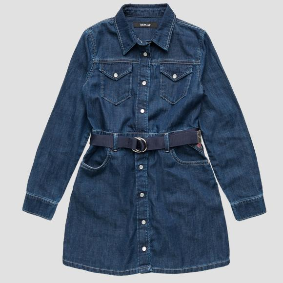 REPLAY denim dress with belt- REPLAY&SONS SG3622_050_168-402_010_1