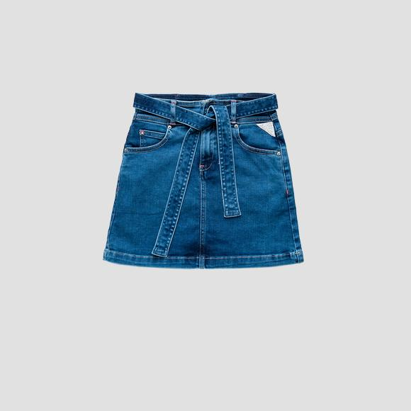 Denim mini skirt with belt- REPLAY&SONS SG4058_050_291-390_001_1