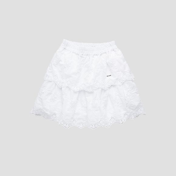 Broderie anglaise mini skirt with frills- REPLAY&SONS SG4473_050_84118_001_1