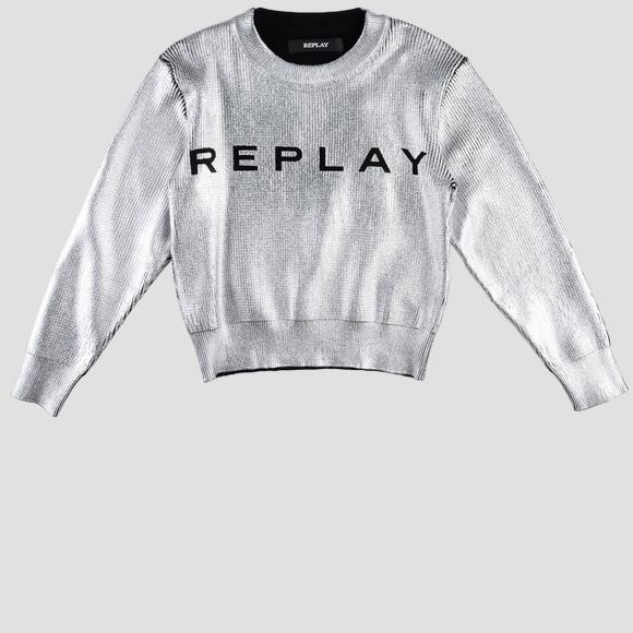 Laminated sweater with print- REPLAY&SONS SG5033_050_G22092F_010_1