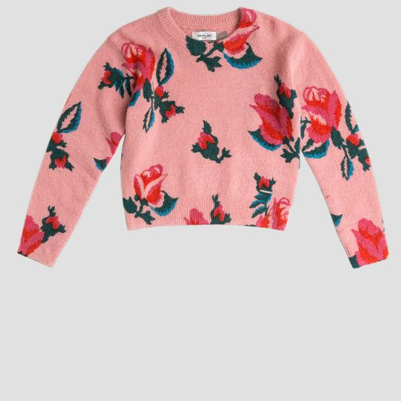 Crewneck pullover ROSE LABEL in wool blend- REPLAY&SONS SG5036_050_G23196_010_1