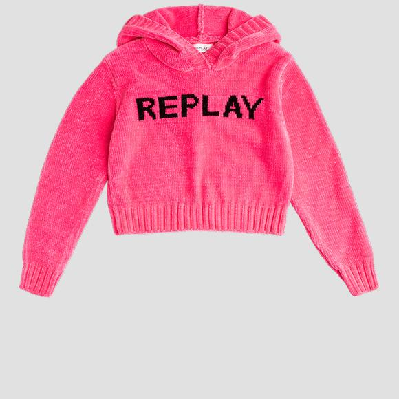 Crop top with hood velours- REPLAY&SONS SG5321_050_G22730B_817_1