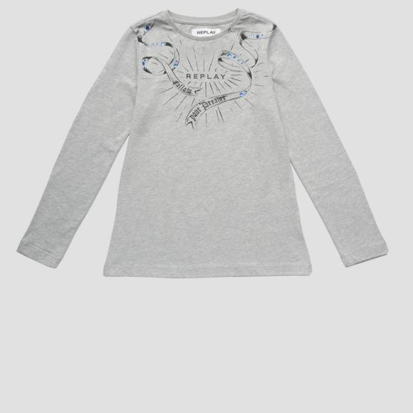 Long-sleeved t-shirt with rhinestones- REPLAY&SONS SG7064_057_22784_M04_1