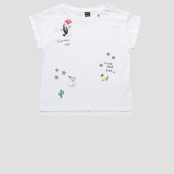 Cotton t-shirt with prints and embroideries- REPLAY&SONS SG7477_050_22536P_001_1