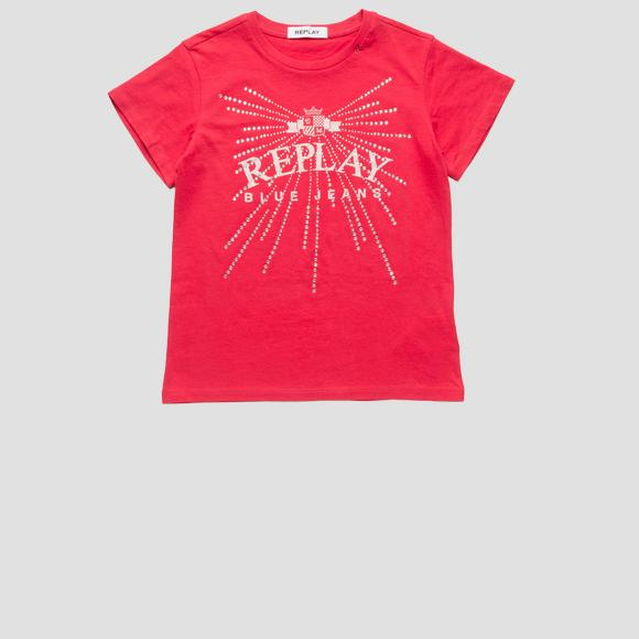 T-shirt with rhinestones applique- REPLAY&SONS SG7479_051_20994_457_1