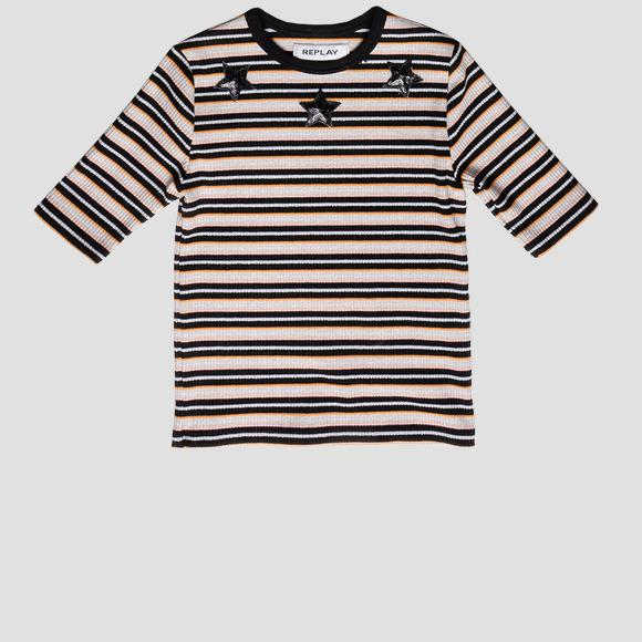 Ribbed striped t-shirt with sequins- REPLAY&SONS SG7486_050_22818_010_1