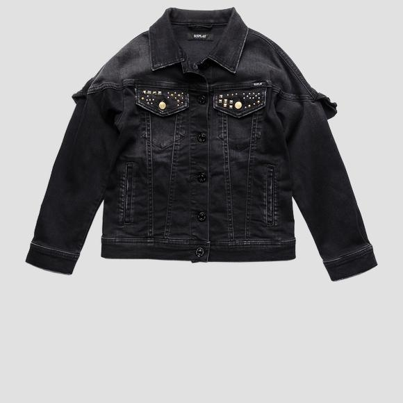 Denim jacket with glitter REPLAY print- REPLAY&SONS SG8246_050_293-203_098_1