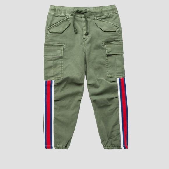 Cargo pants with contrasting ribbon- REPLAY&SONS SG9316_050_80655_531_1