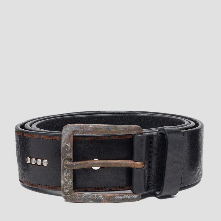 Leather belt with rusty effect am2561.000.a3007