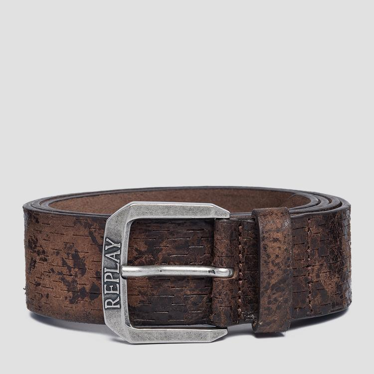 Aged leather belt am2571.000.a3002c