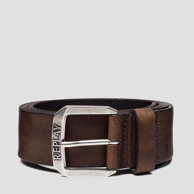 Leather belt with used effect - Replay