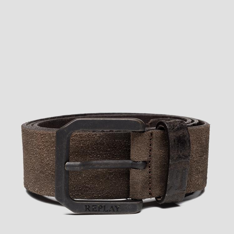 Leather belt with suede effect am2598.000.a3024c