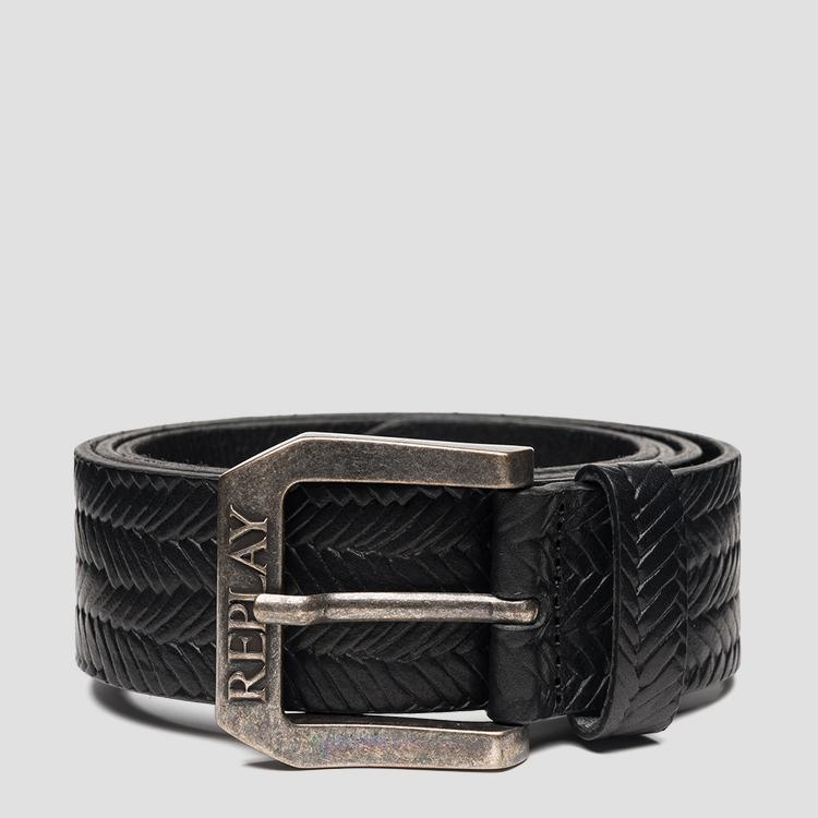 Belt in weaved leather am2609.000.a3007h