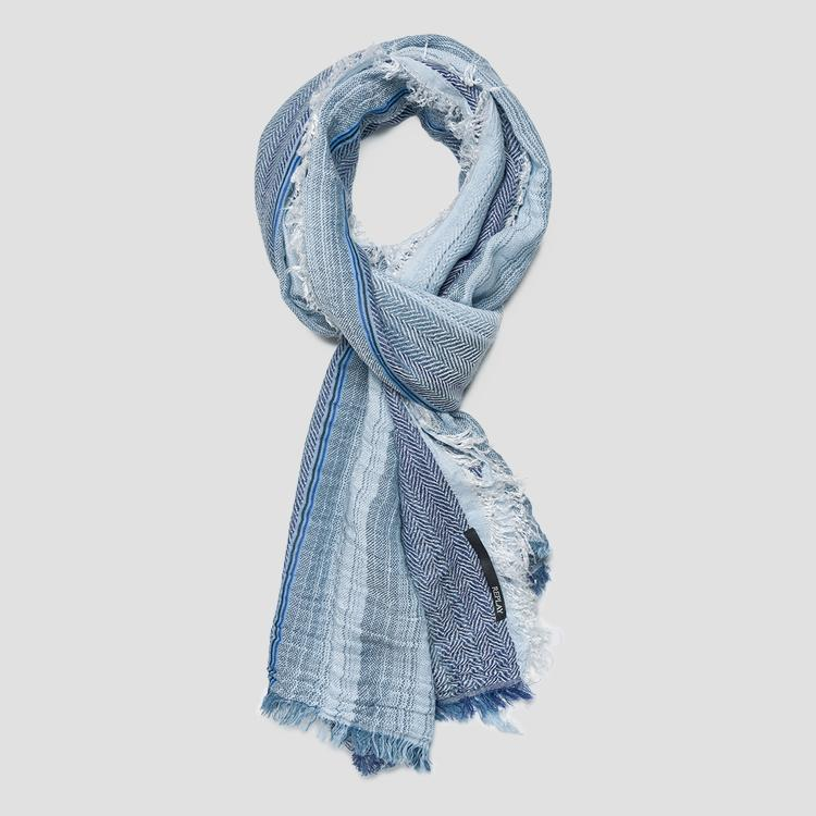 Scarf with herringbone and striped print am9215.000.a0268d