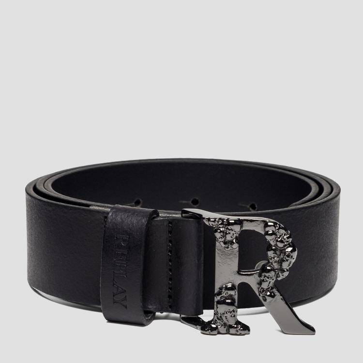 Leather belt with R-shaped buckle with skulls - Replay