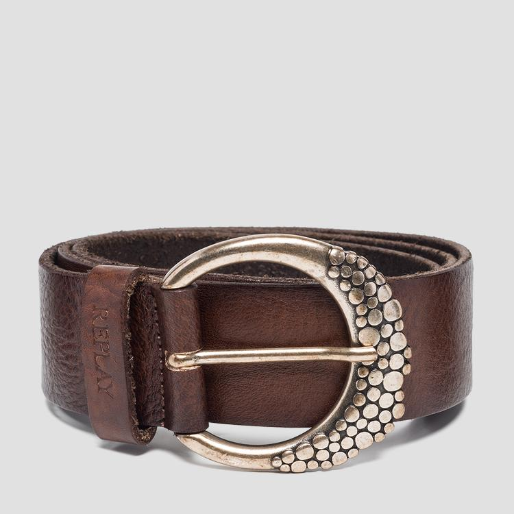 Washed leather belt aw2508.000.a3003e