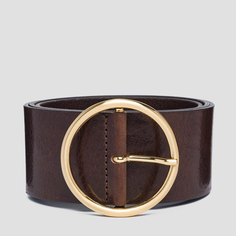 Wide pull-up leather belt - Replay