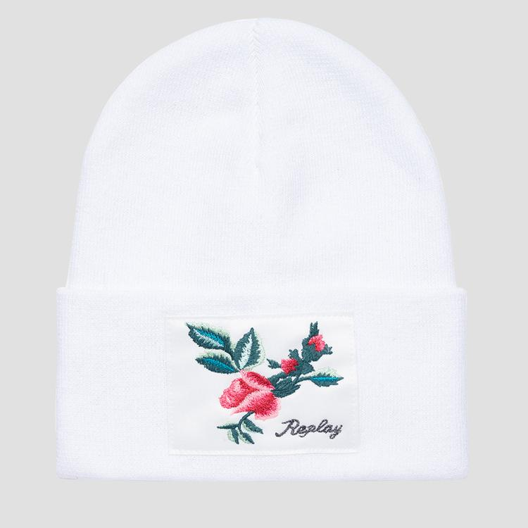 Solid-coloured ROSE LABEL beanie - Replay