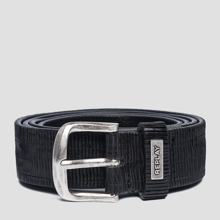 Engraved leather belt ax2247.000.a3114