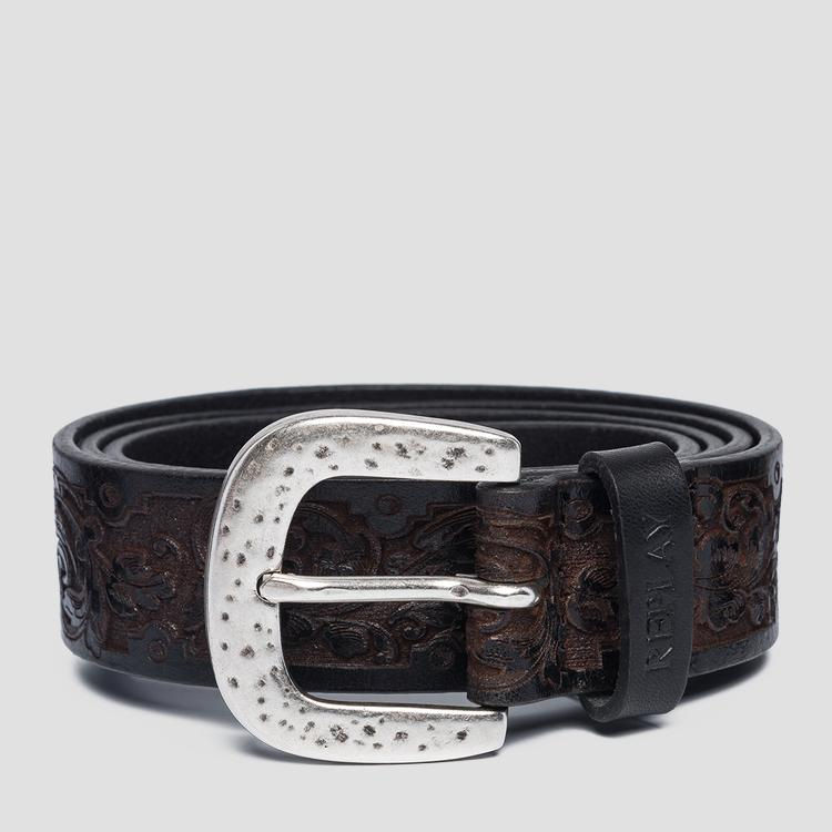 Engraved leather belt ax2248.000.a3007