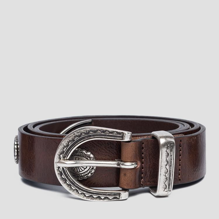 Vintage leather belt with buckle - Replay