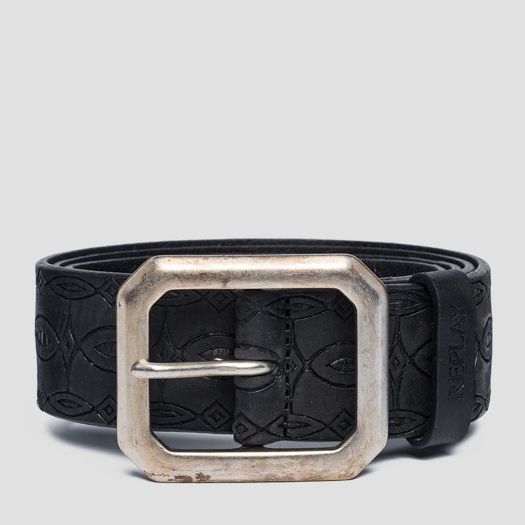 Leather belt with ethnic engravings ax2250.000.a3007