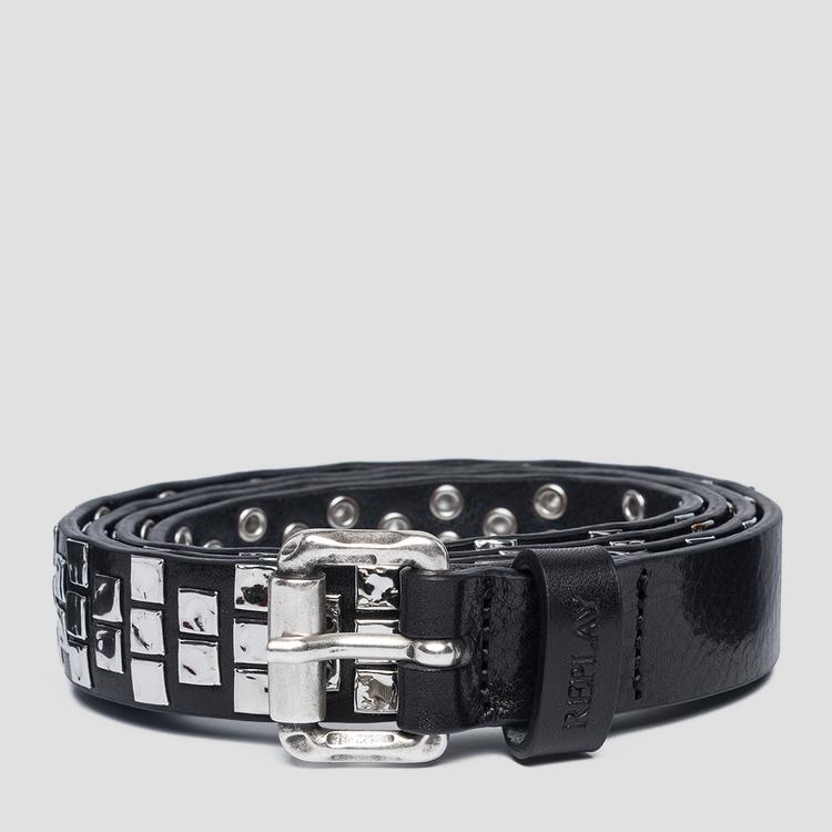 Leather belt with studs ax2251.000.a3007