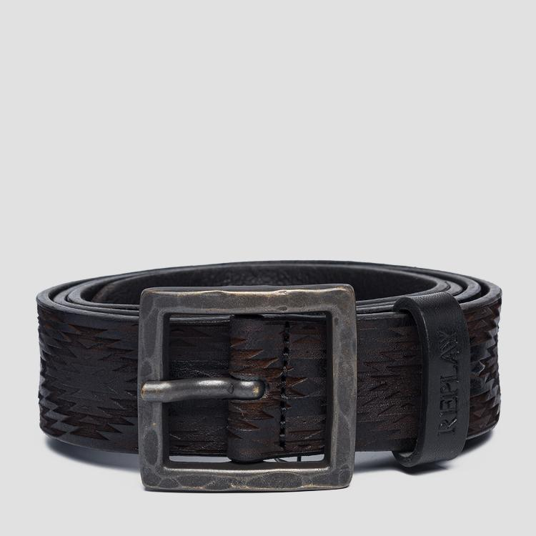 Unisex Leather belt with geometrical engravings ax2252.000.a3007