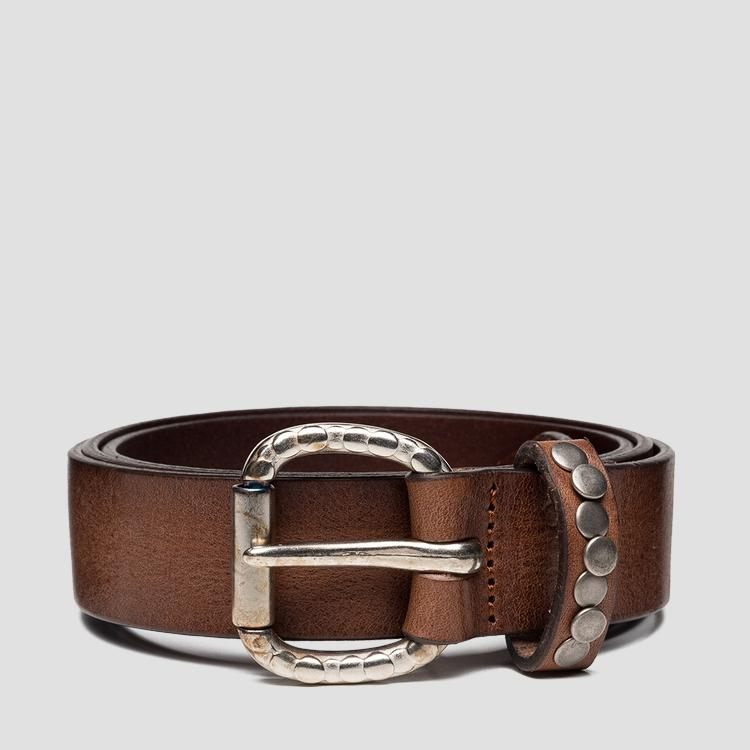 Leather belt with studs - Replay