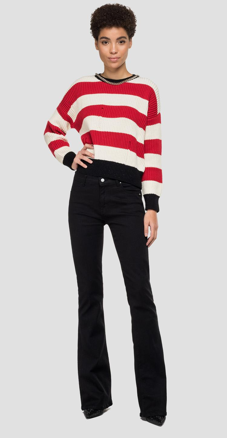 Sweater with striped chain dk1317.000.g22642