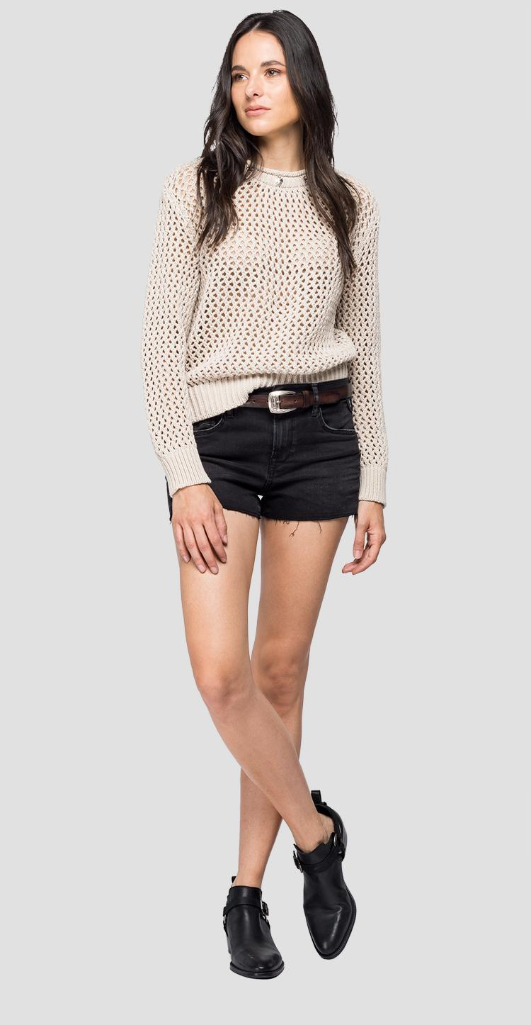 Openwork sweater with small studs dk1323.000.g22806