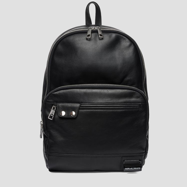 Leather backpack with zipper pockets - Replay