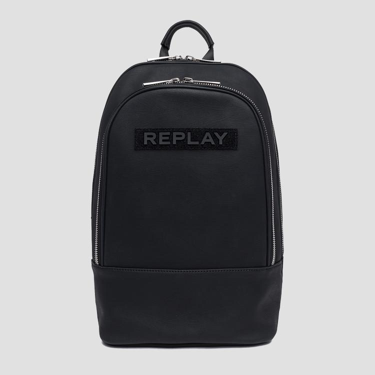 Eco-leather backpack with maxi pocket - Replay