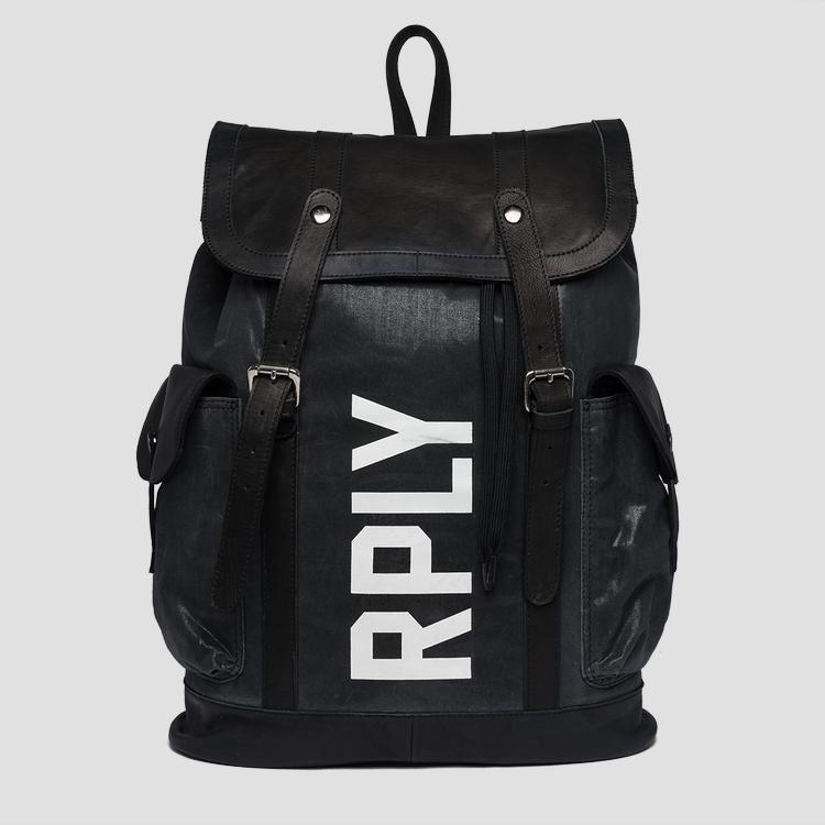 Backpack in leather and waxed cotton fm3421.000.a0396