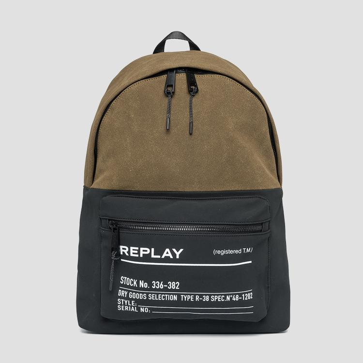 Two-tone fabric REPLAY backpack fm3504.000.a0175