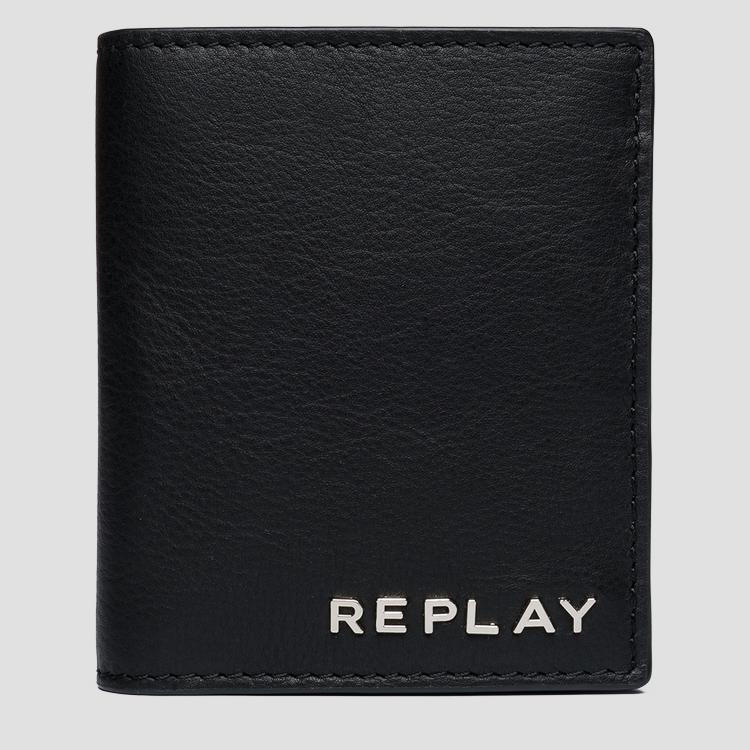 Leather wallet with button - Replay