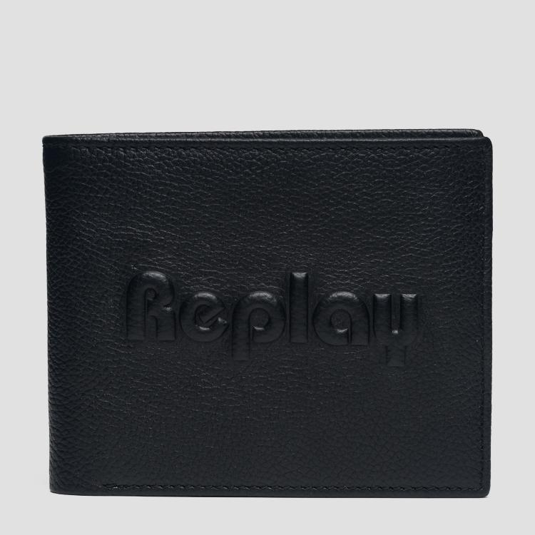 Leather wallet with embossed logo fm5176.000.a3078a