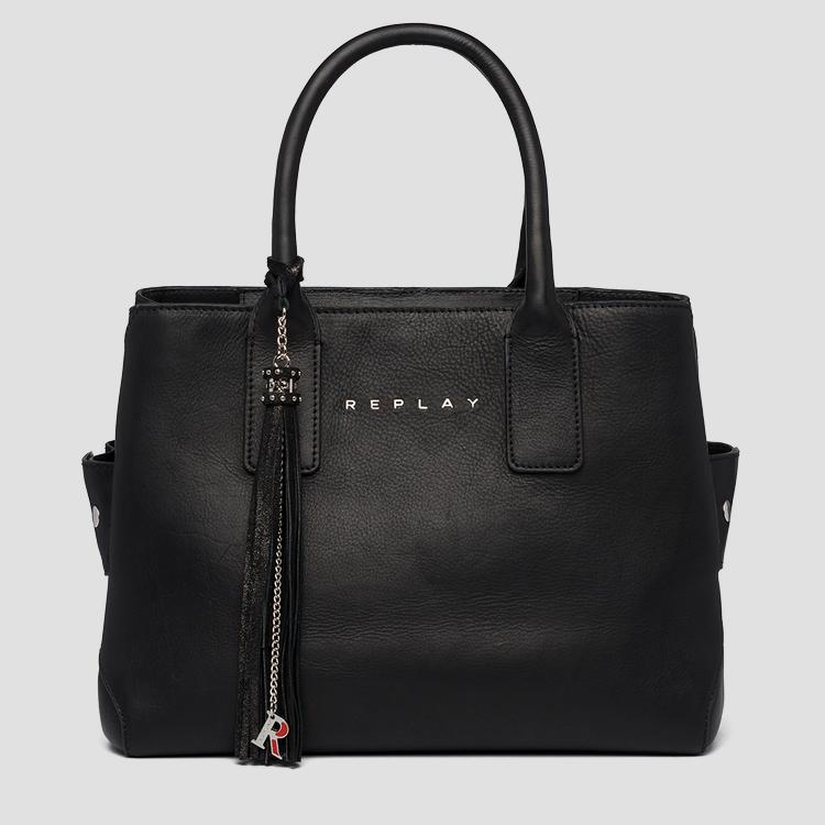 Tote bag in plain cow leather - Replay