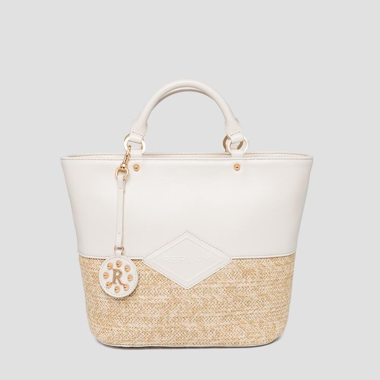 Raffia shopper with shoulder strap fw3109.000.a0295