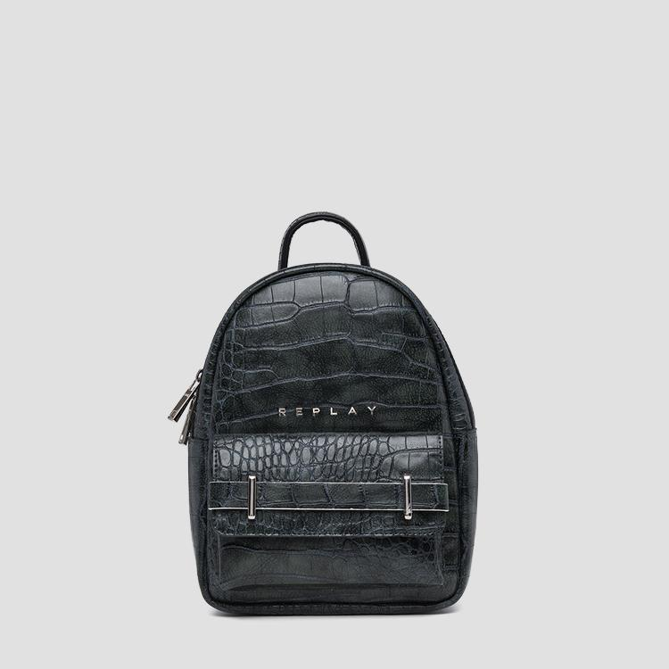 Eco-leather backpack with printed cocco effect fw3809.000.a0292c