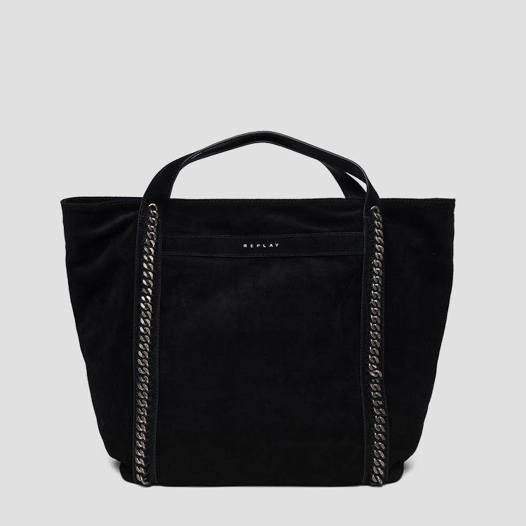 Shopper bag in suede with chains - Replay