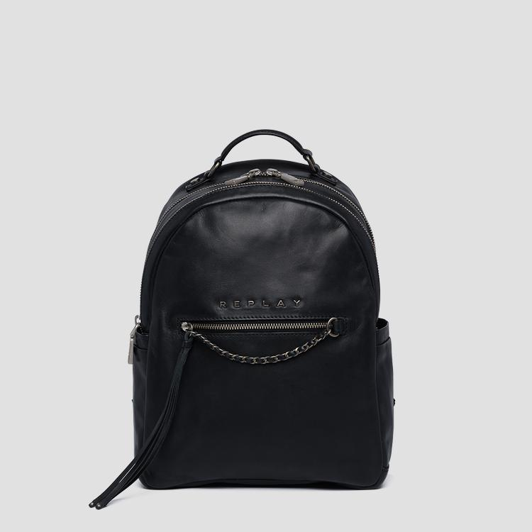 Leather backpack with chain - Replay