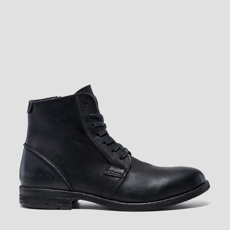 Men's HOTMAN lace up leather ankle boots - Replay