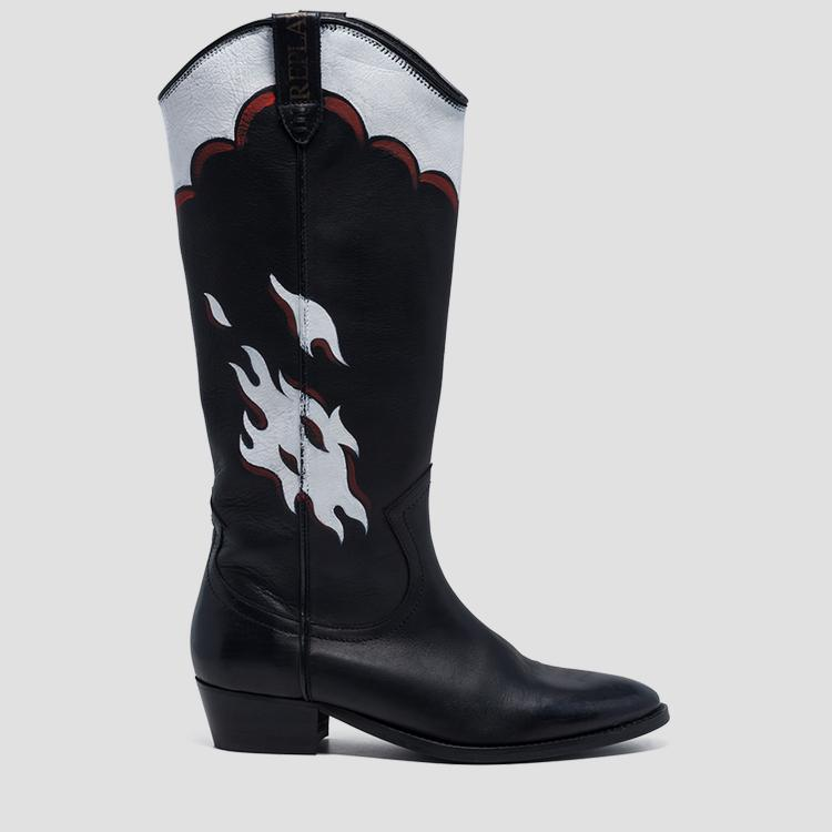Women's DENYSE leather high boots - Replay