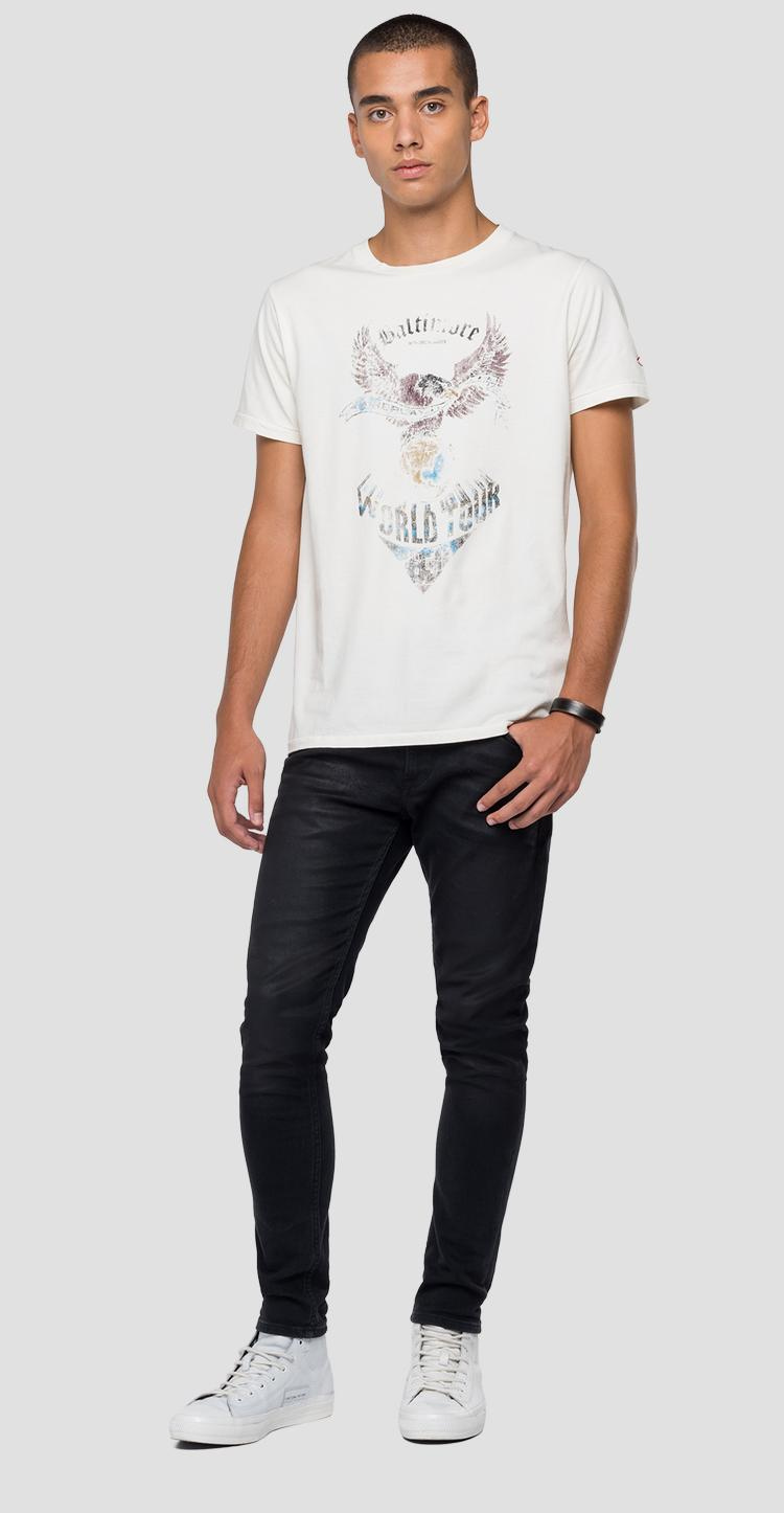 Vintage effect t-shirt with print m3168 .000.22974g