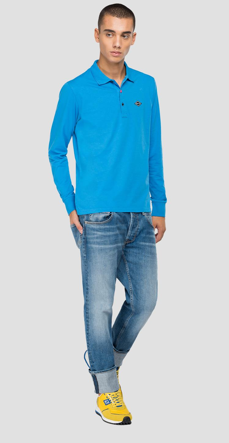 Long-sleeved REPLAY polo shirt in jersey m3266 .000.23070g