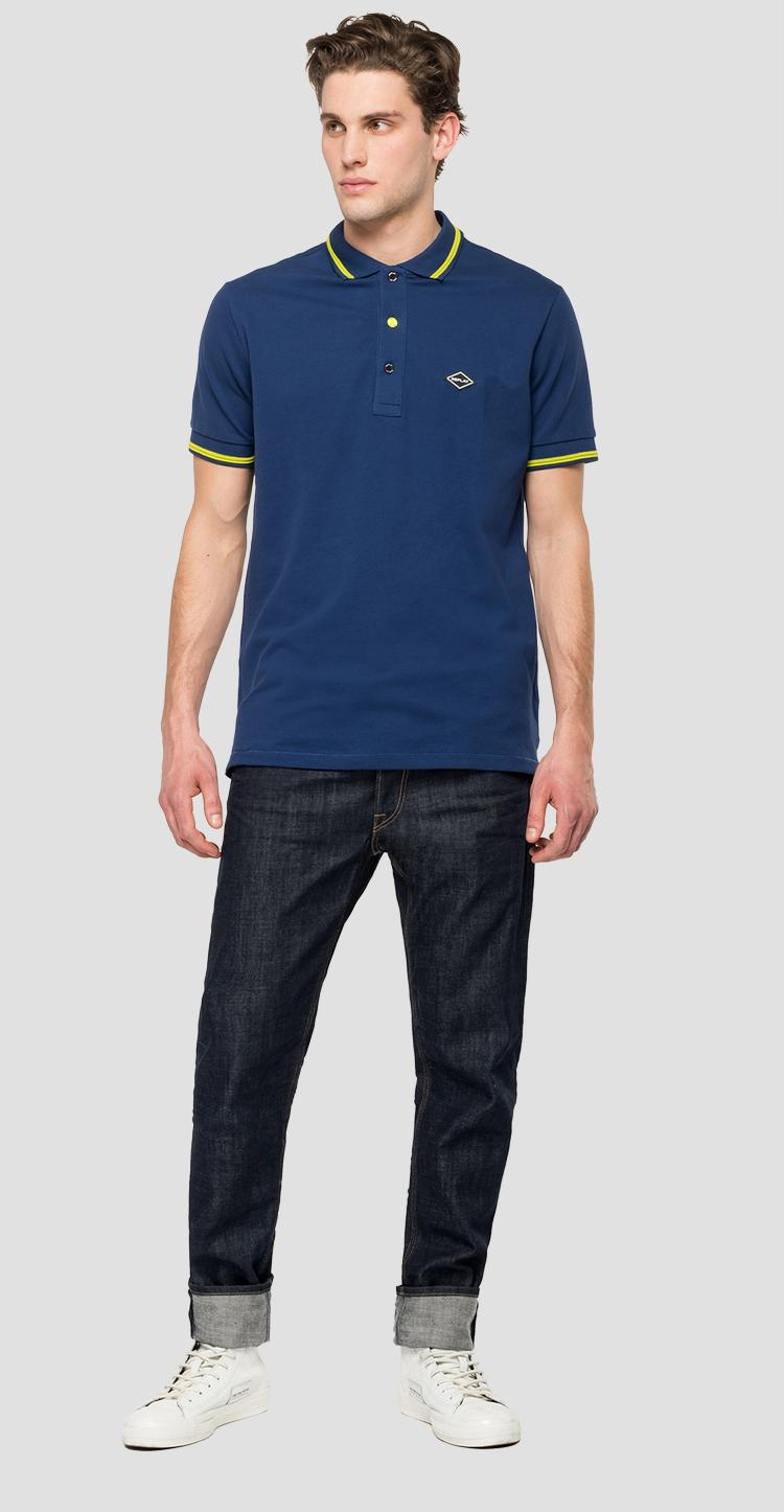 Polo shirt with fluo striped edges m3685a.000.21868