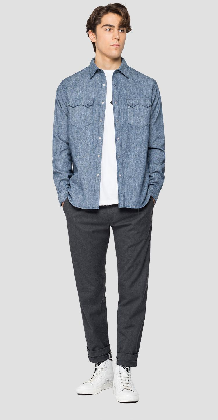 Tailored cotton denim shirt - Replay