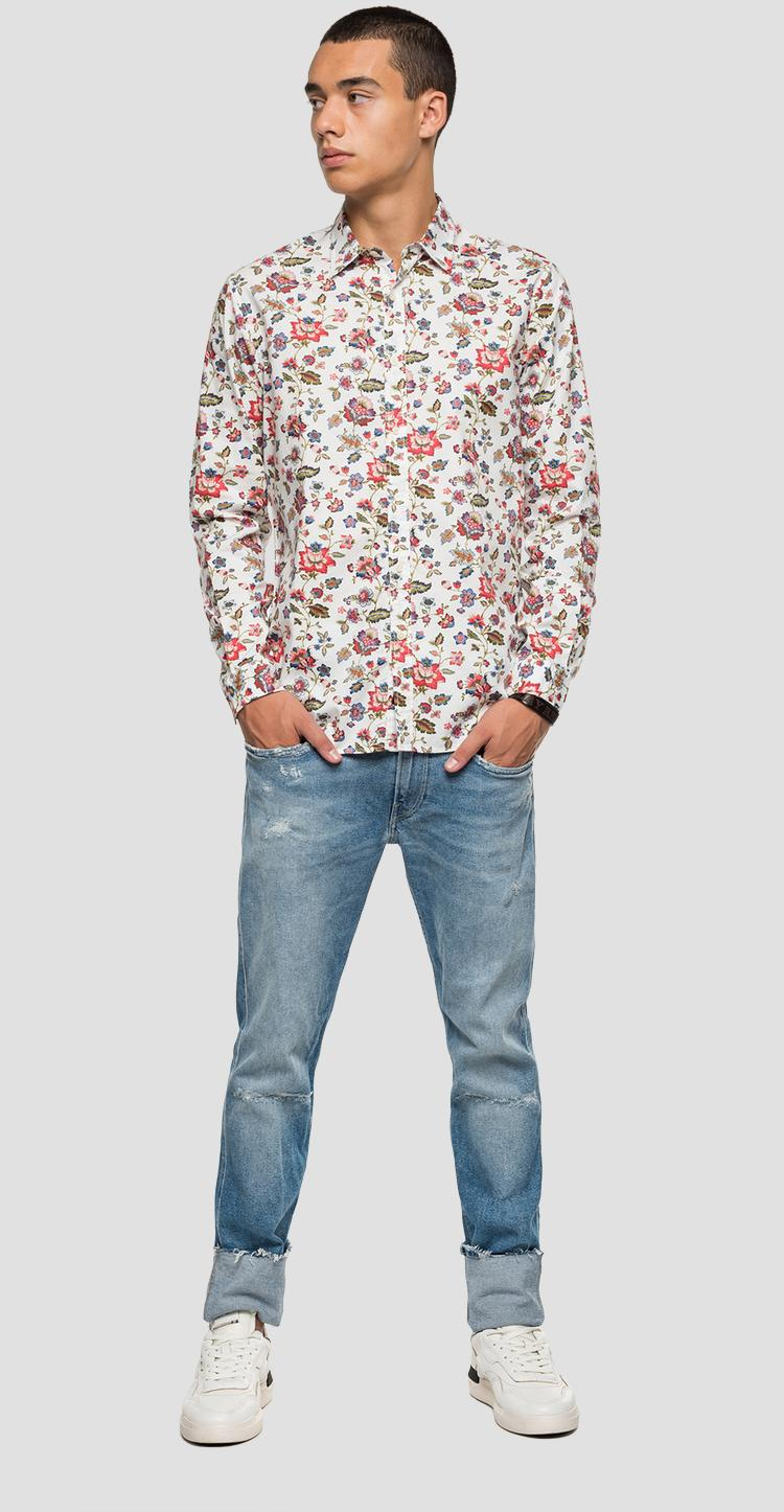Dobby cotton shirt with floral print - Replay